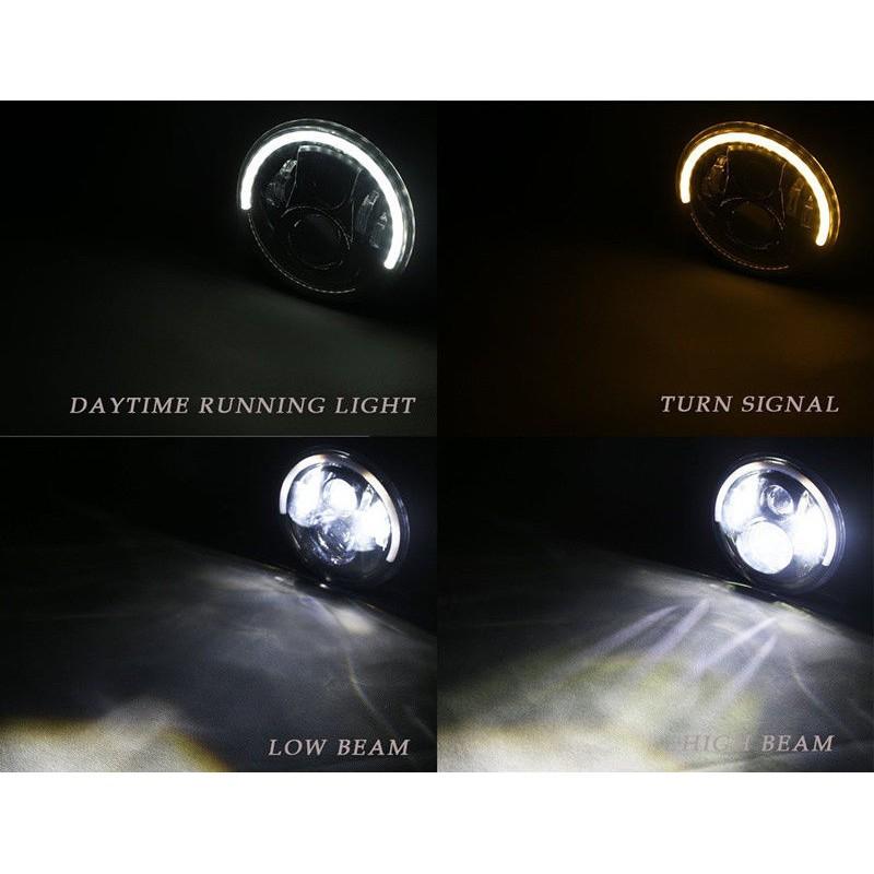 7 inch Round Angel Eye Headlight Amber Turn Signal For  Harley