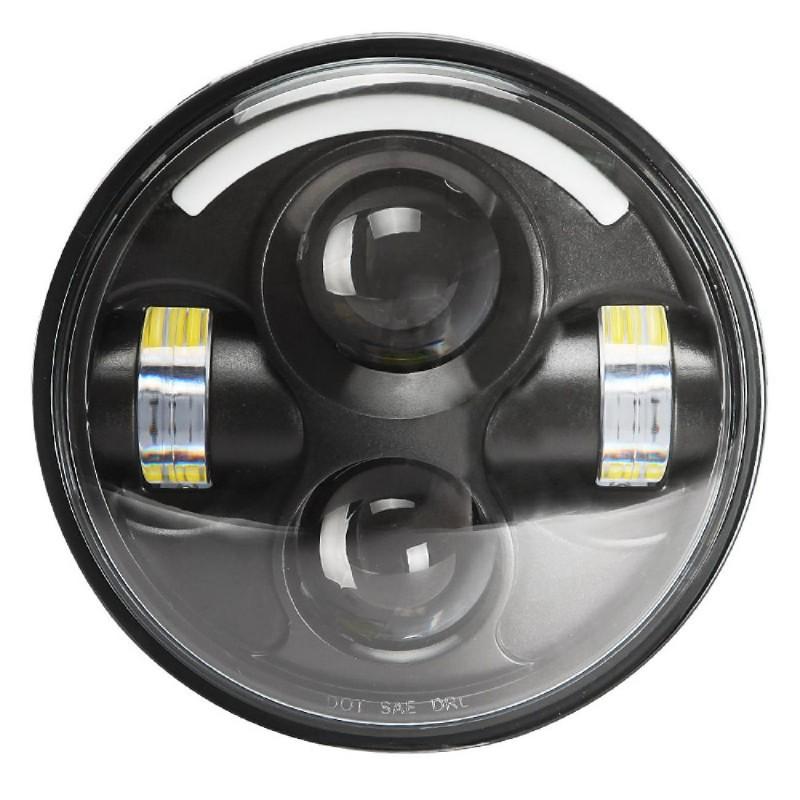 "5-3/4"" 5.75 inch Black LED DRL Projector Headlight Daymaker for Harley Davidson"