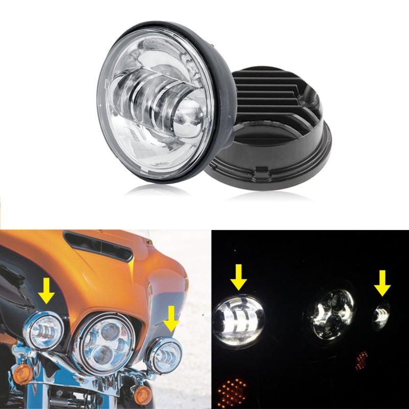 """2x Spot Fog Passing Light Chrome LED For Harley Davidson Motorcycle 4.5"""" Inch"""
