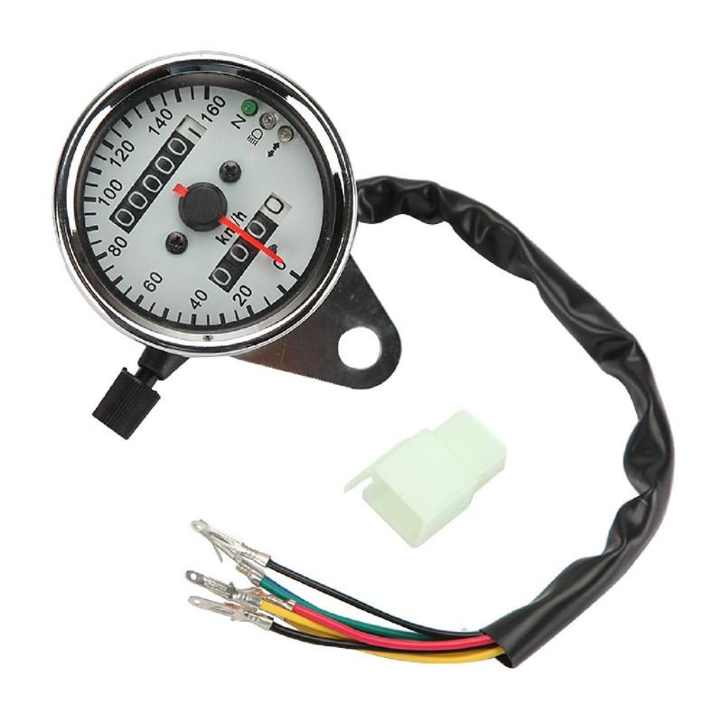 Motorcycle Backlit Odometer Tachometer Dual Speedo Meter LED with turn Singal