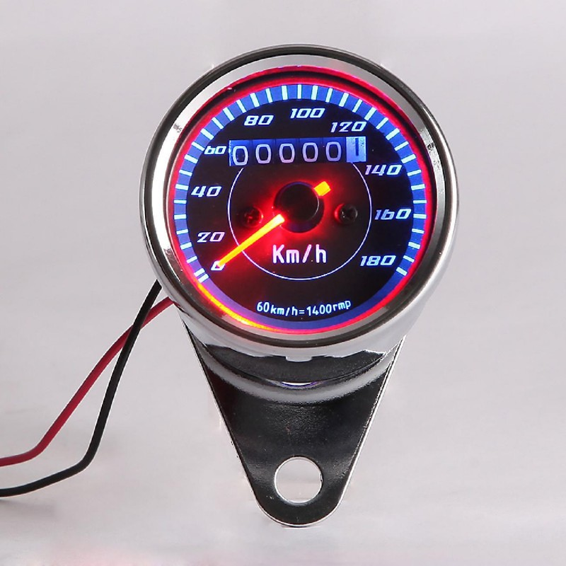 Universal Silver metal Dual Speedometer Tachometer Speedo Meter LED