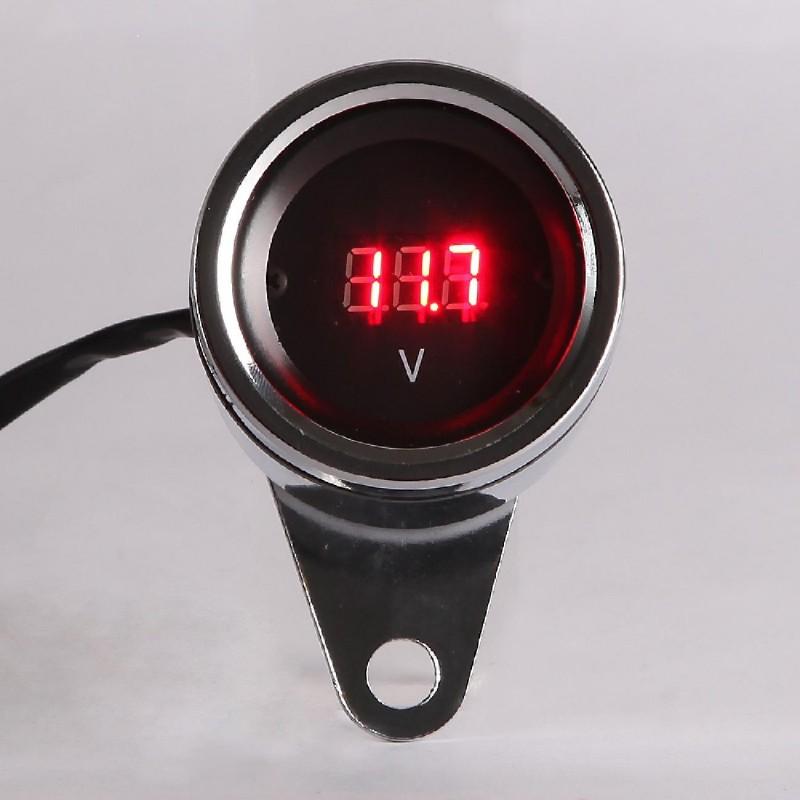 New Chrome Universal 12V LED Digital Tachometer Voltmeter Gauge