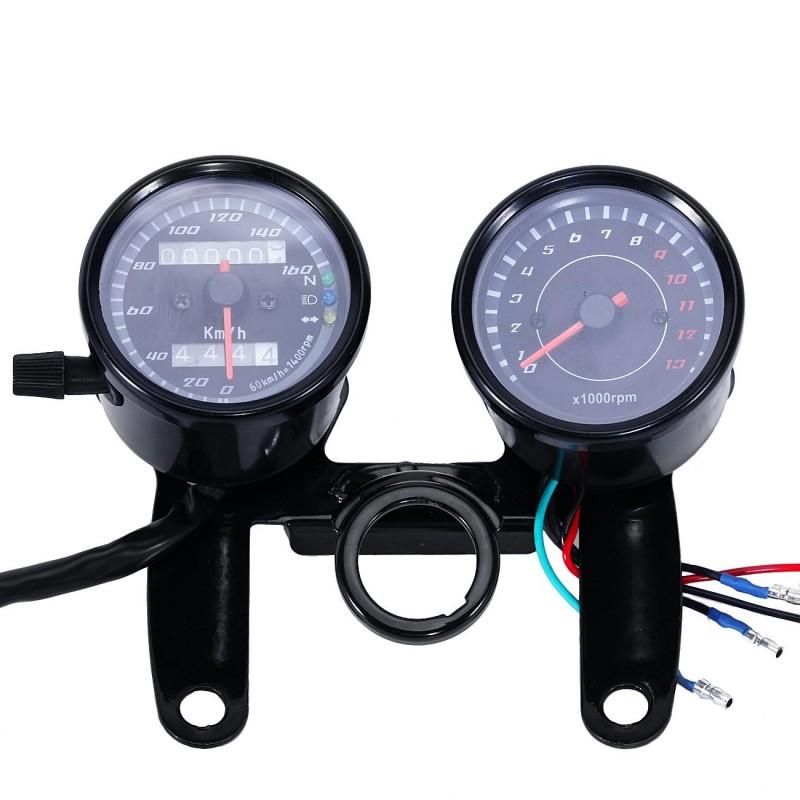 Motorcycle Dual Speedometer Tachometer kit Turn Light + Bracket