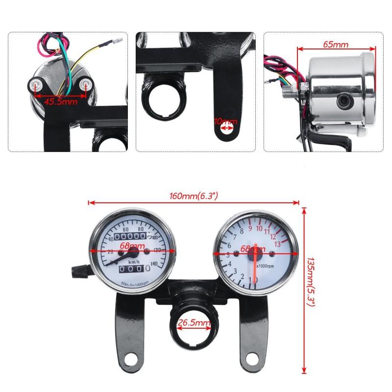 Motorcycle Odometer Speedometer Tachometer Speedo Meter LED Fit Honda Cafe Racer