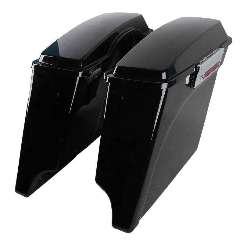"""5"""" Vivid Black Stretched Extended Hard Saddlebags For Harley Electra Glide Road King 1993-2013"""