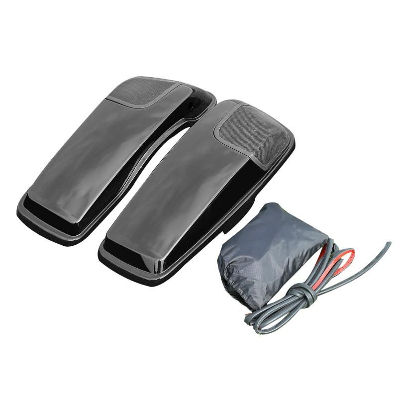Black Saddlebag Lid Speaker Cutouts w/ Grill For Harley Touring FLT FLHT FLHTCU 14-18