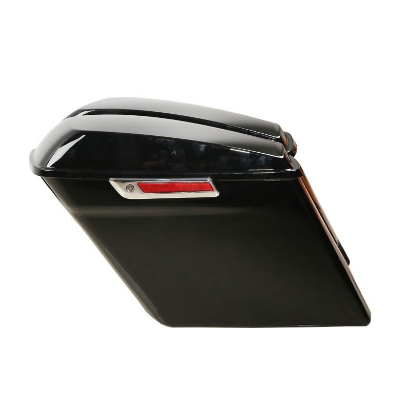 """Black 5"""" Extended Stretched Saddlebag W/ Keys For Harley Touring Road King Glide 14-18"""