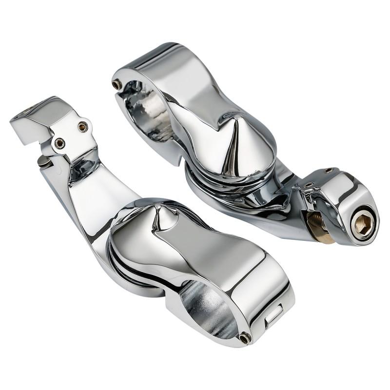 "Chrome 1.25"" Short Angled Adjustable Highway Peg Mount Kit For Suzuki Honda Harley"